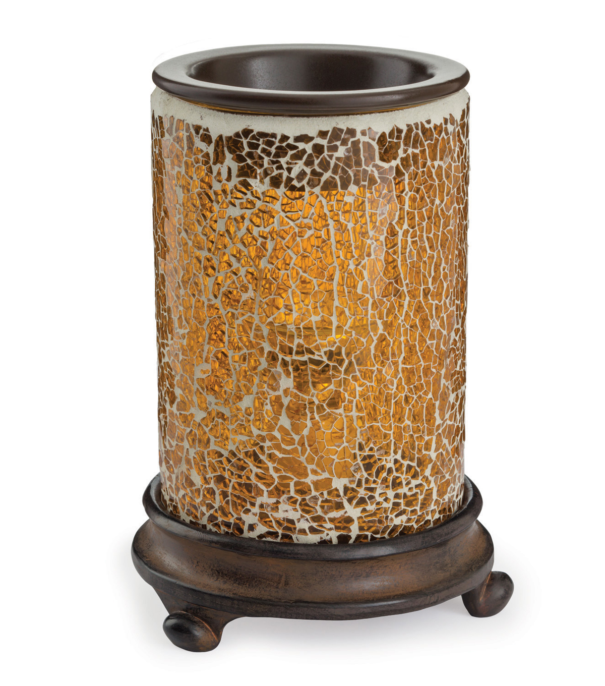 Hudson 43 Candle & Light Collection Crackled Amber Glass Fragrance Warmer