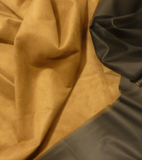 Suedecloth Fabric-Reversible Faux Suede & Leather Black Camel