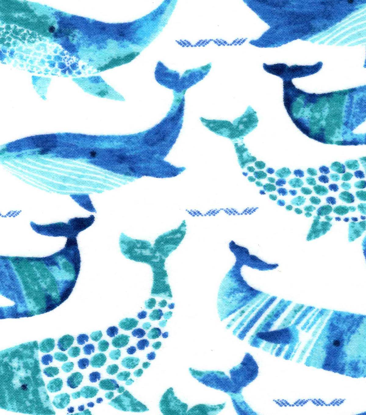 Nursery Flannel Fabric -Gordan Whale