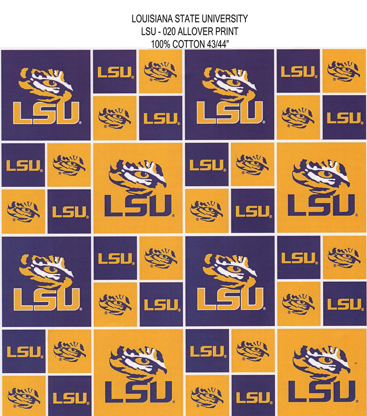 Louisiana State University Tigers Cotton Fabric 43