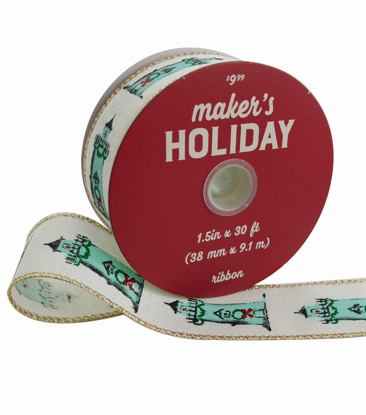 Maker\u0027s Holiday Christmas Ribbon 1.5\u0027\u0027x30\u0027-Lighthouses on Ivory