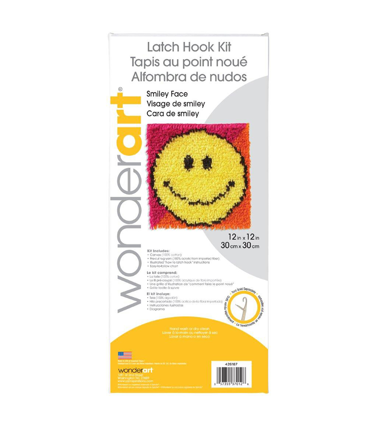 Wonderart Latch Hook Kit 8\u0022X8\u0022-Smile