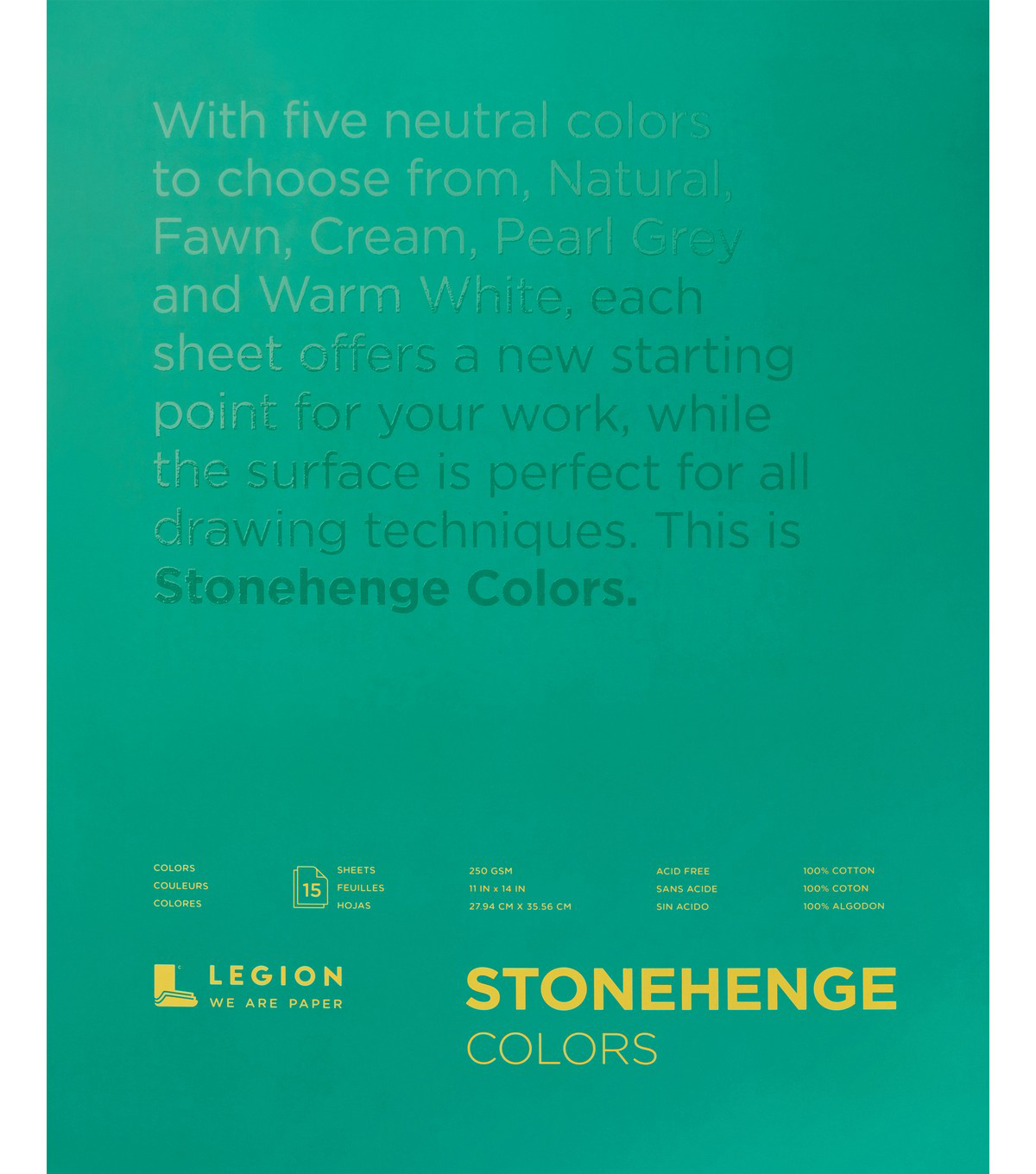 Stonehenge Paper Pad 11\u0022X14\u0022 15 Sheets-Multi Color 90lb