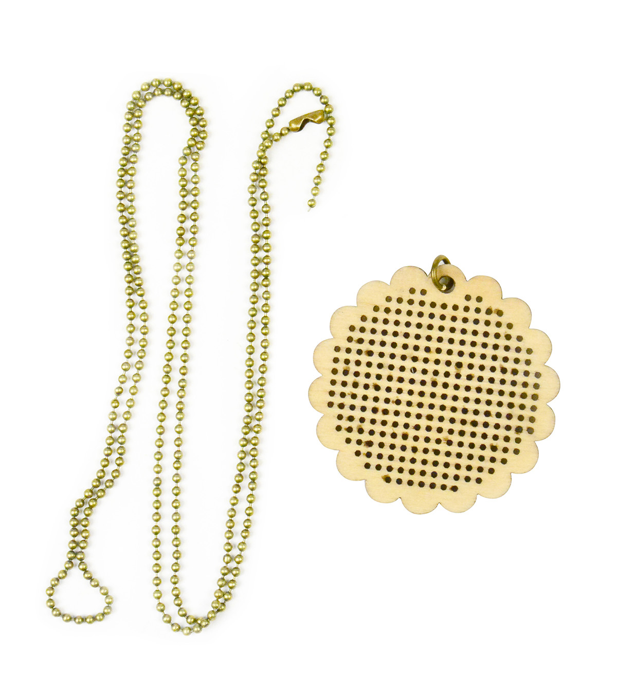 Cross Stitch Style Wooden Pendant Necklace-Scalloped Circle