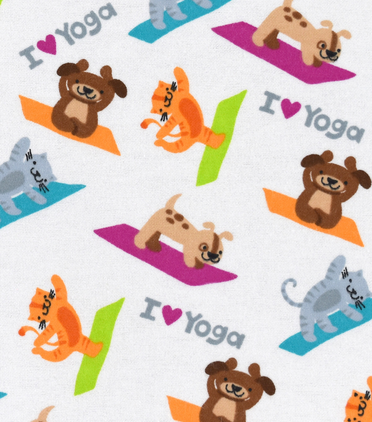 Snuggle Flannel Fabric -I Love Yoga