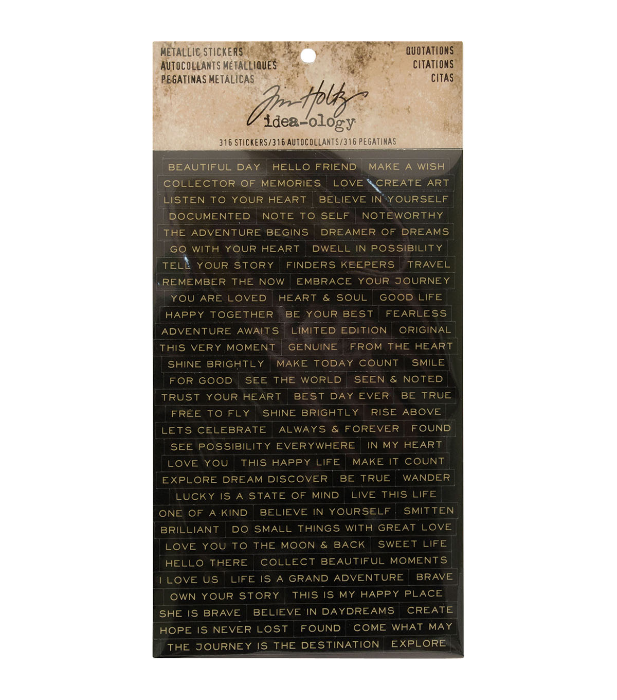 Tim Holtz idea-ology 316 pk Metallic Stickers-Quotations