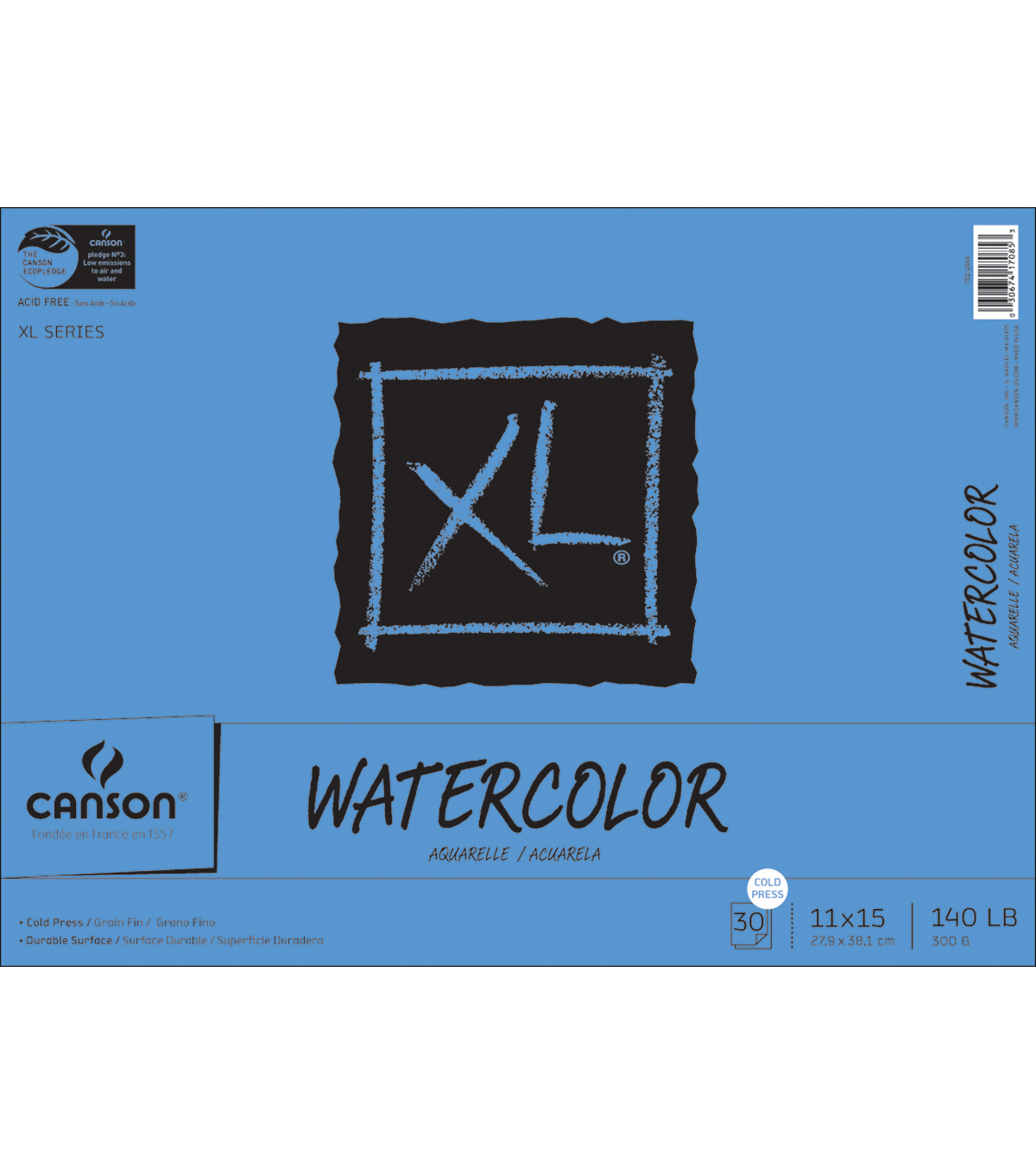 Proart-Canson Bound Watercolor Pad 11\u0022X15\u0022 30 Sheets-140# Cold Press