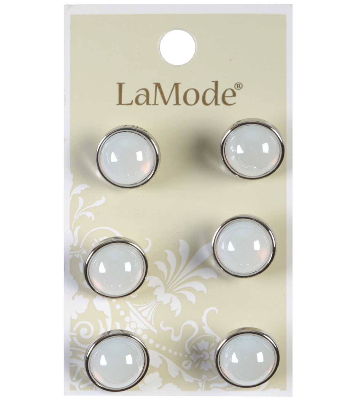 LaMode Dome Shaped White And Silver Shank Buttons