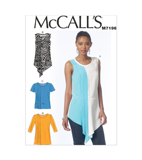 McCall\u0027s Pattern M7196-A50 Misses\u0027 Tops and Tunics-6-8-10-12-14