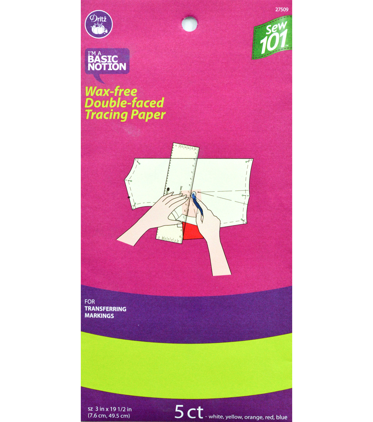 Dritz 3\u0022 x 19.5\u0022 Sewing 101 Wax Free Double Faced Tracing Paper