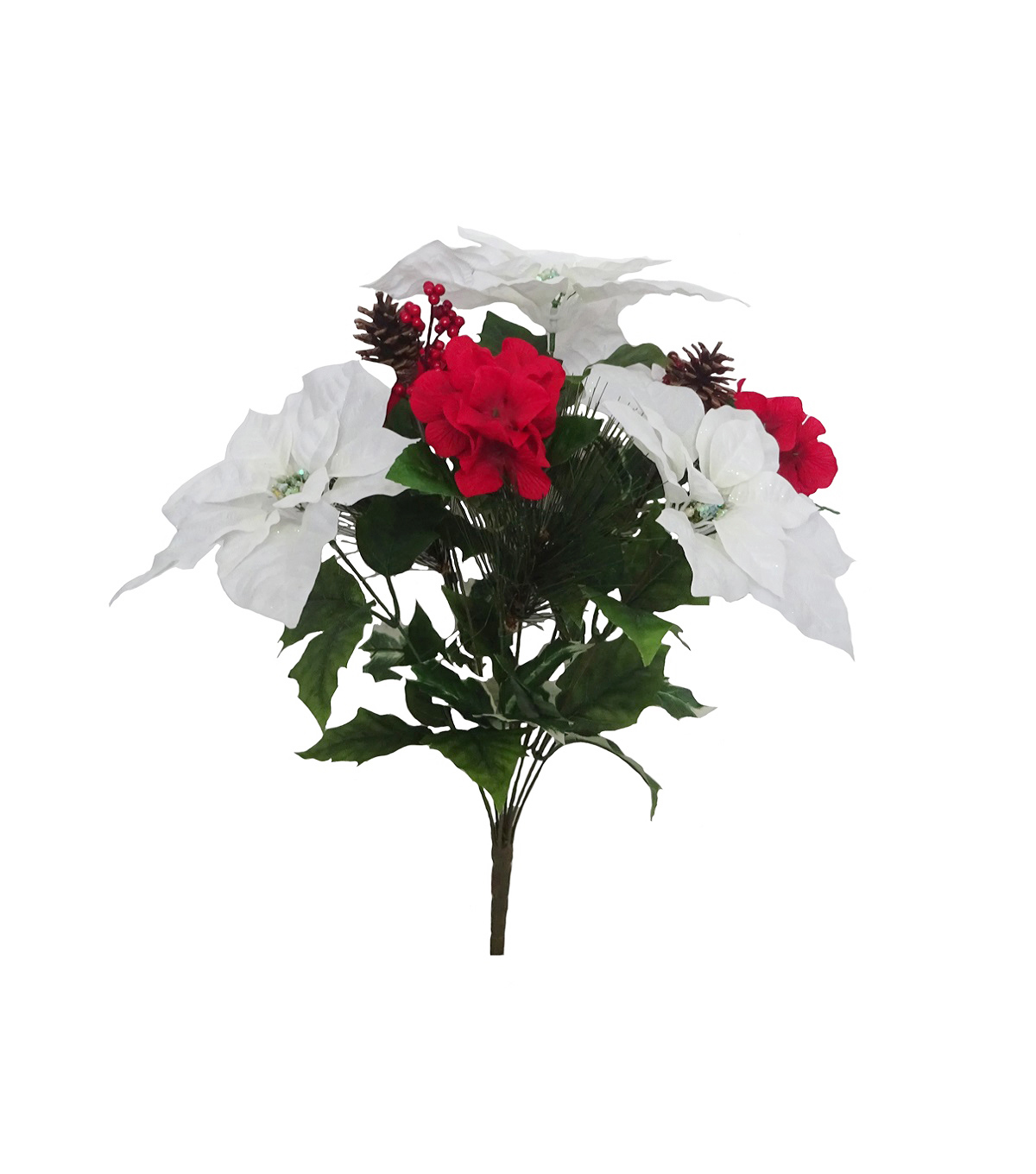 Handmade Holiday Christmas Poinsettia & Hydrangea Bush-White & Red