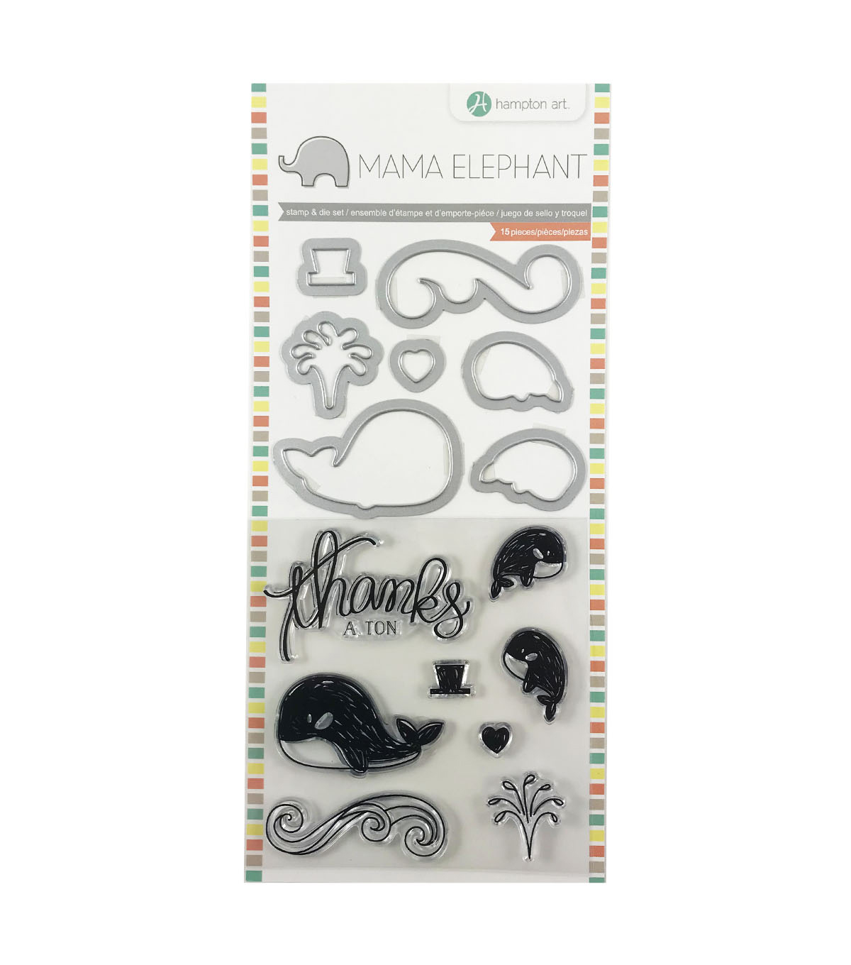 Hampton Art Mama Elephant Clear Stamp & Die Set-Whale Thanks