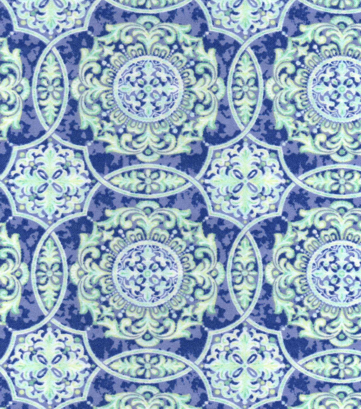Snuggle Flannel Fabric -Blue Green Medallions