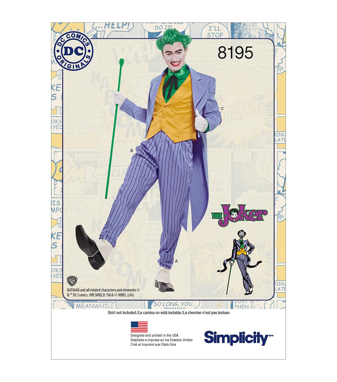Simplicity Pattern 8195 Men\u0027s D.C. Comics Joker Costume-Size BB (46-