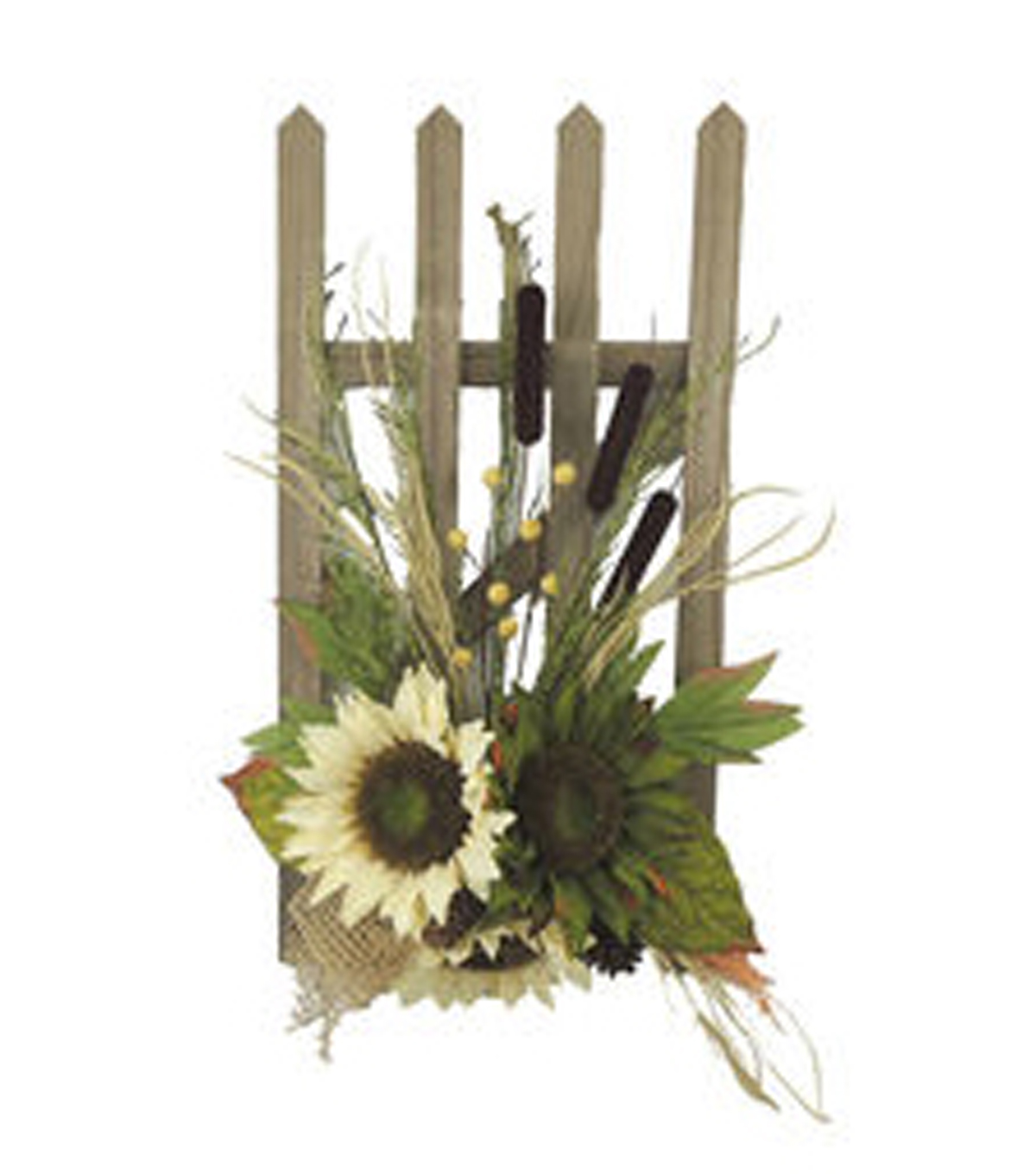 Blooming Autumn Sunflower Picket Fence Wall Decor-Beige  & Green