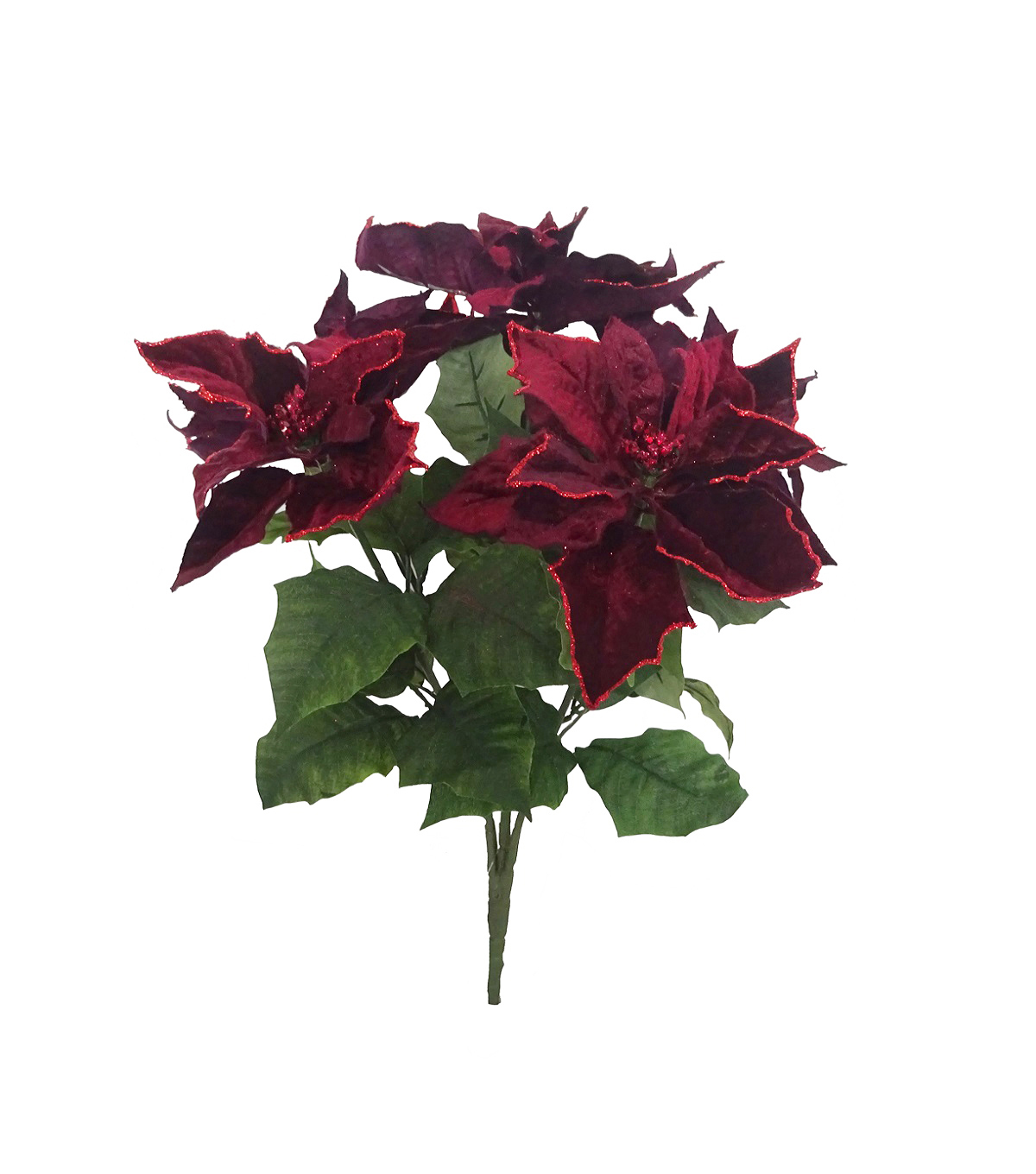 Handmade Holiday Christmas Glitter Poinsettia Bush-Burgundy