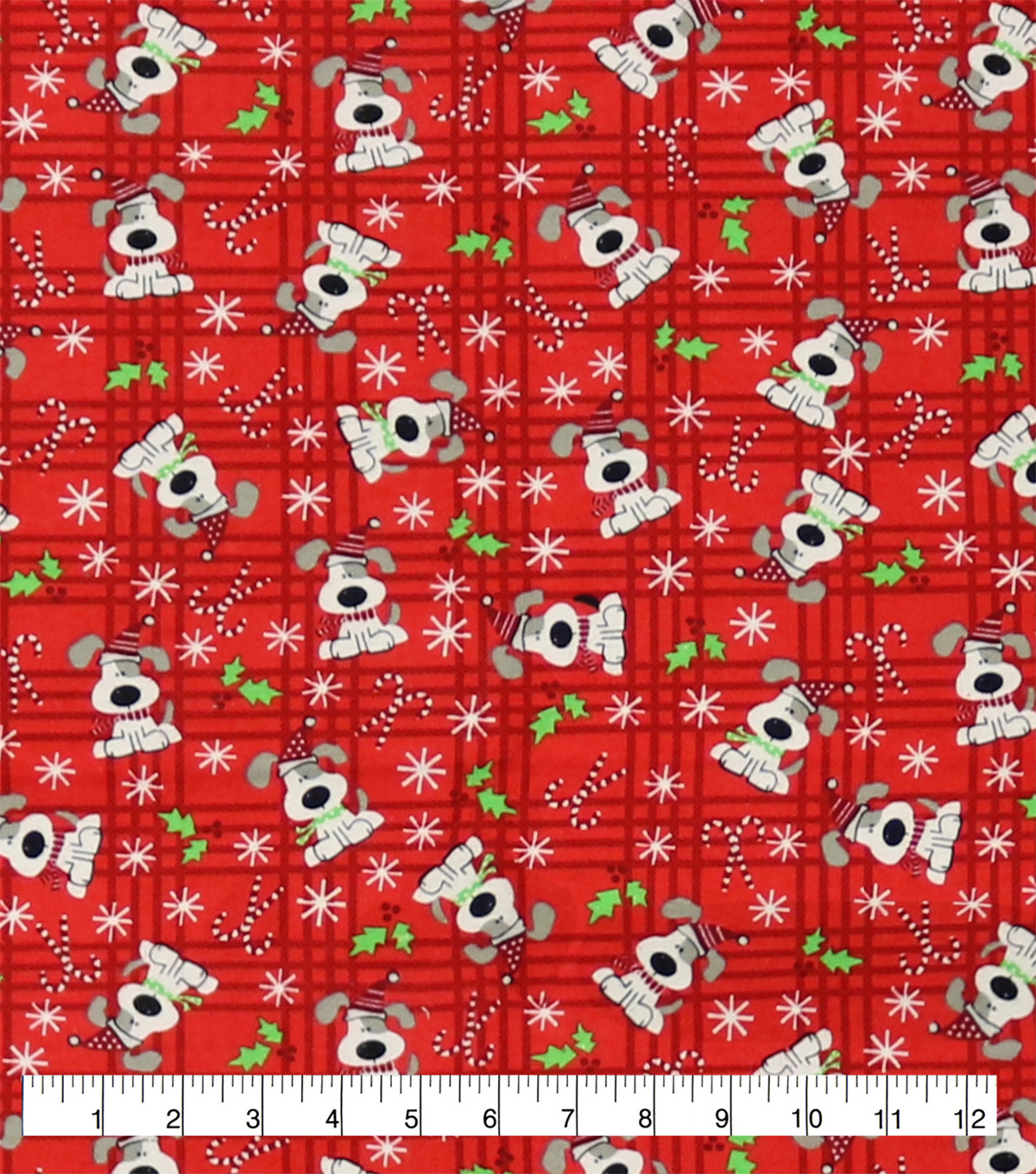Super Snuggle Flannel Fabric-Spotted Holiday Pup Tossed