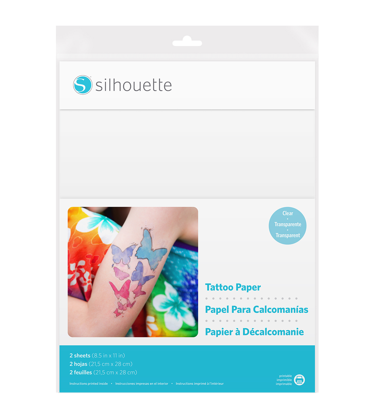 2 sheets Silhouette Inkjet Printable Temporary Tattoo Paper