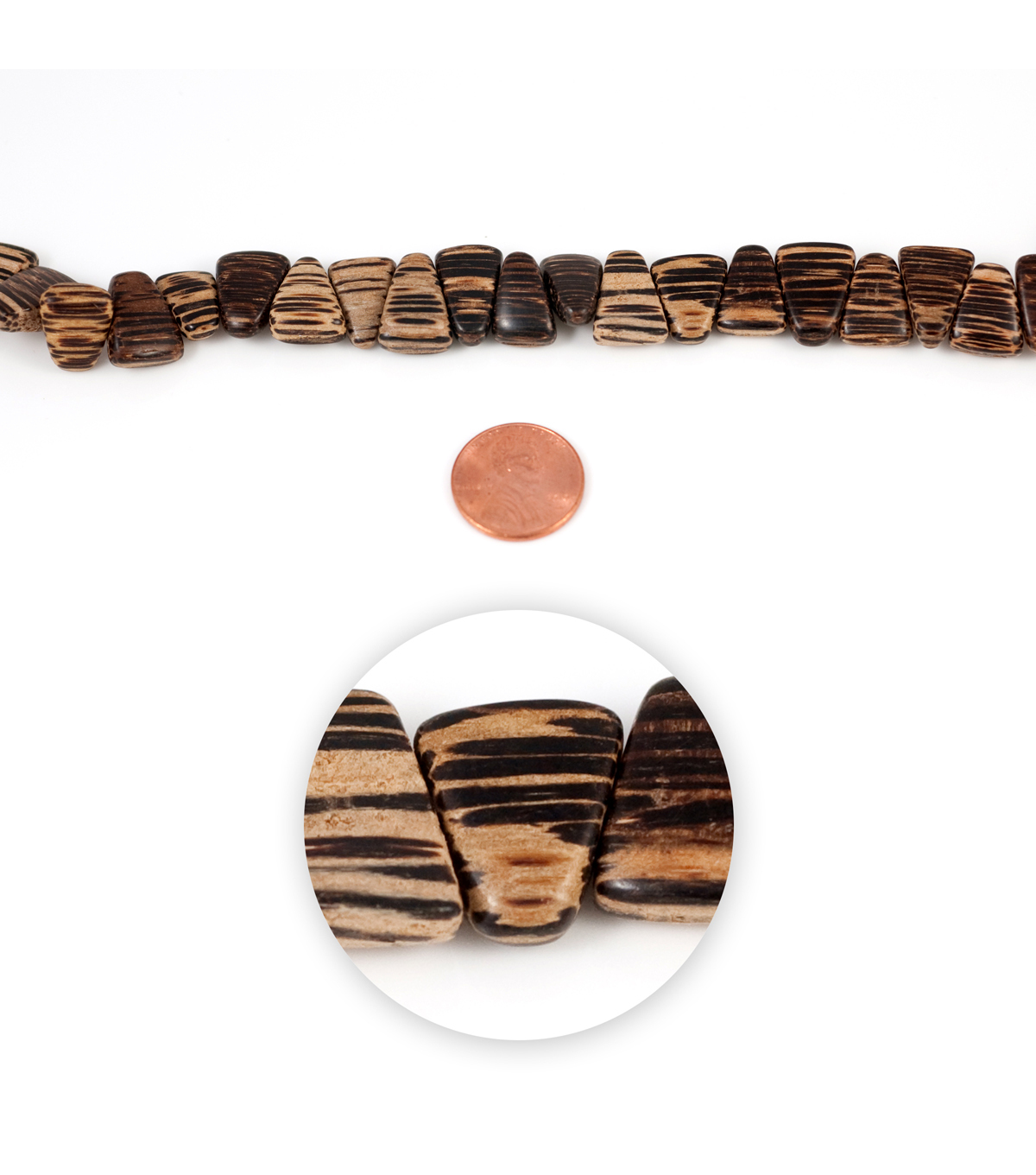 Blue Moon Strung Coco Wood Beads,Triangle,Brown w/Black