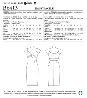 Butterick Pattern B6413 Misses\u0027 Gathered-Front, Keyhole Dress-Size 14-22