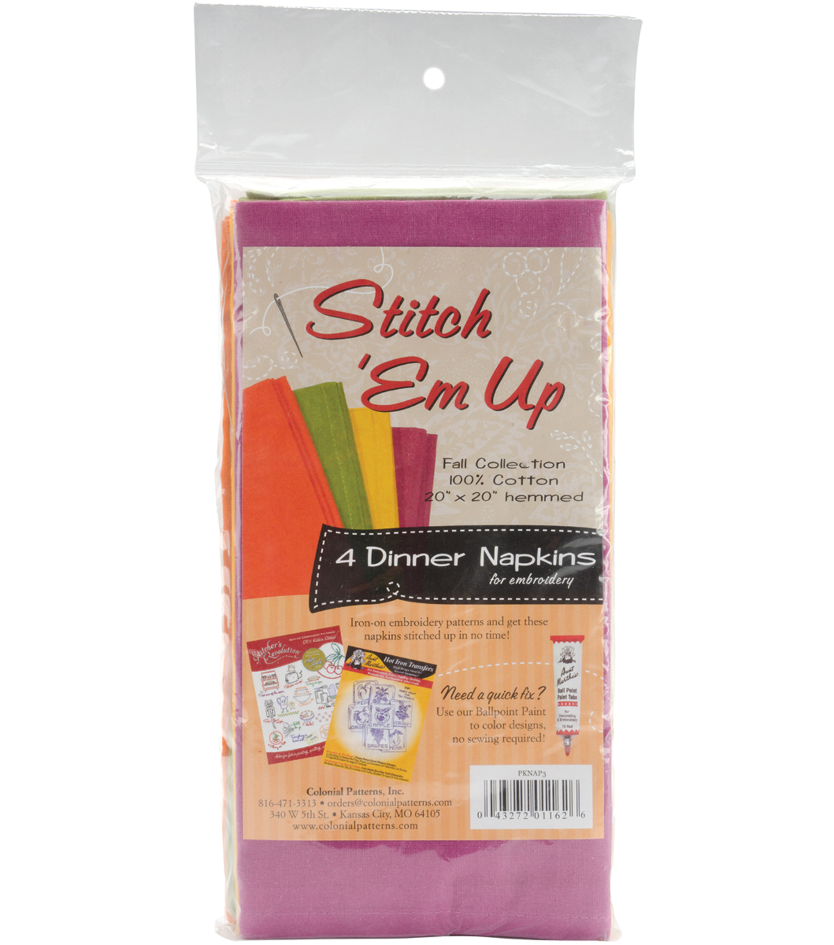 Stitch \u0027em Up Dinner Napkins For Embroidery 4/Pkg-Fall Collection