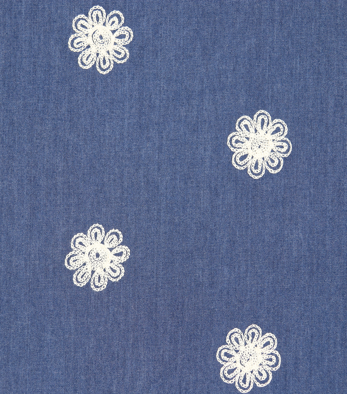 Dark Wash White Embroidered Flower Cotton Denim Fabric