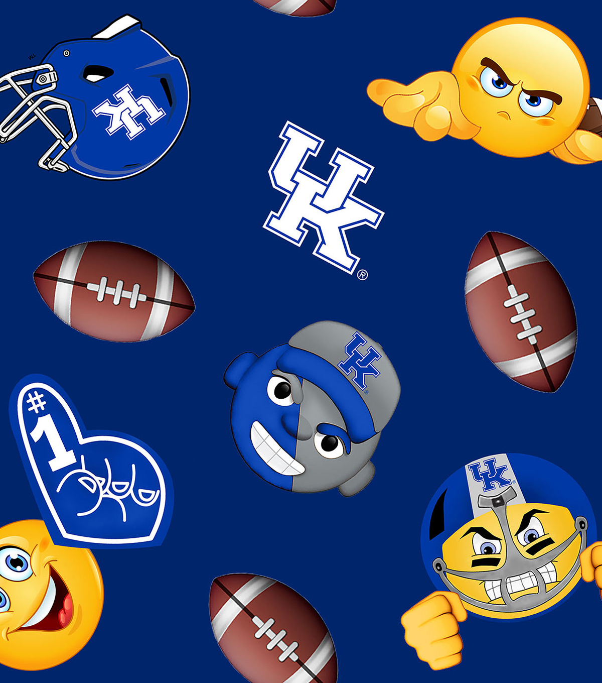 University of Kentucky Wildcats Fleece Fabric -Emoji