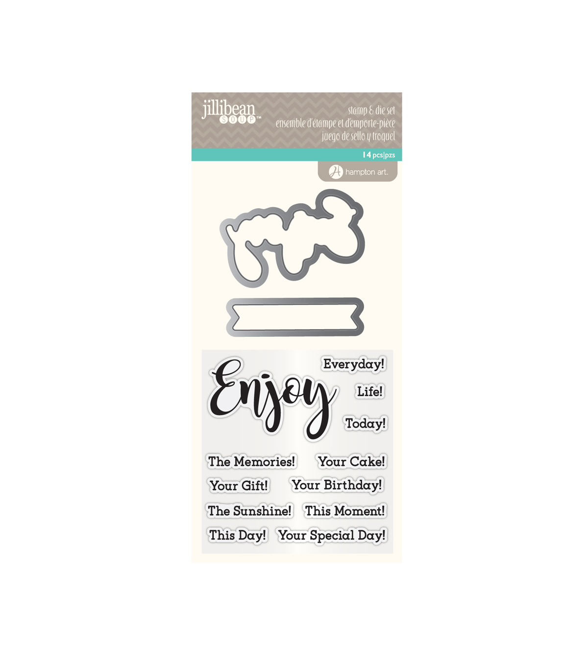 Jillibean Soup Clear Stamp & Die Set-Enjoy Sentiments