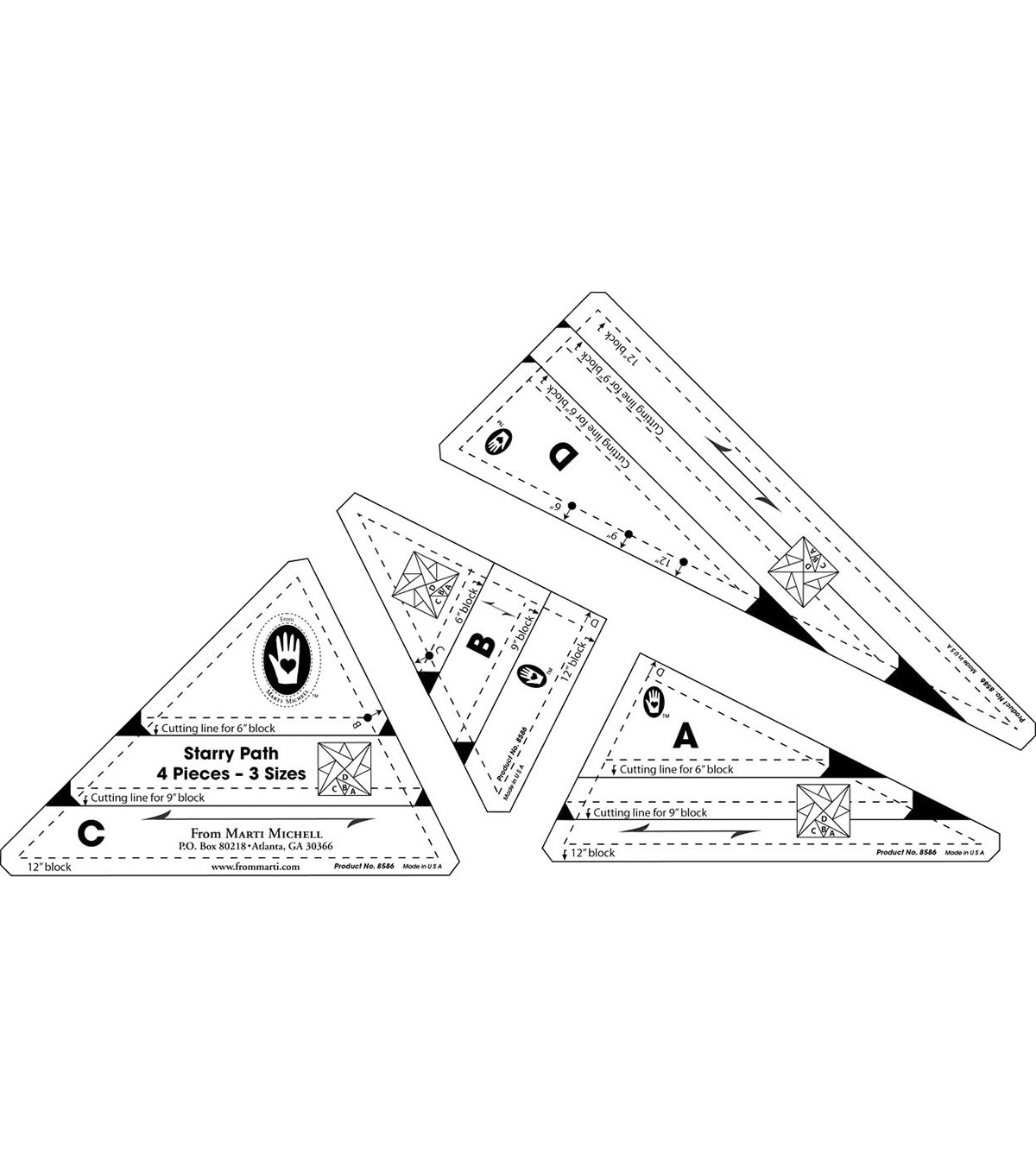 Marti Michell Starry Path Template Set-4/Pkg