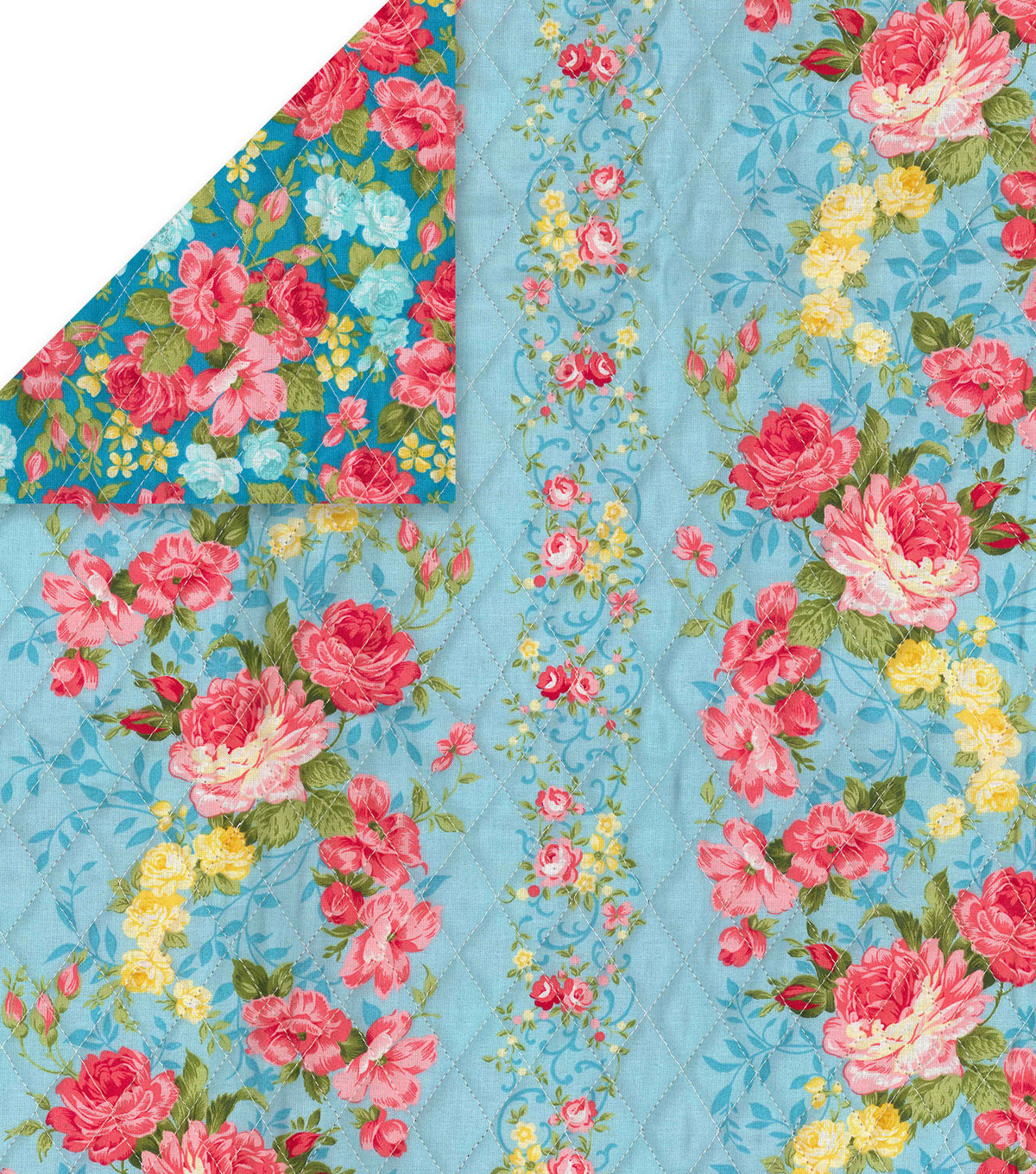 Double Faced Pre Quilted Cotton Fabric Blue Floral Stripe