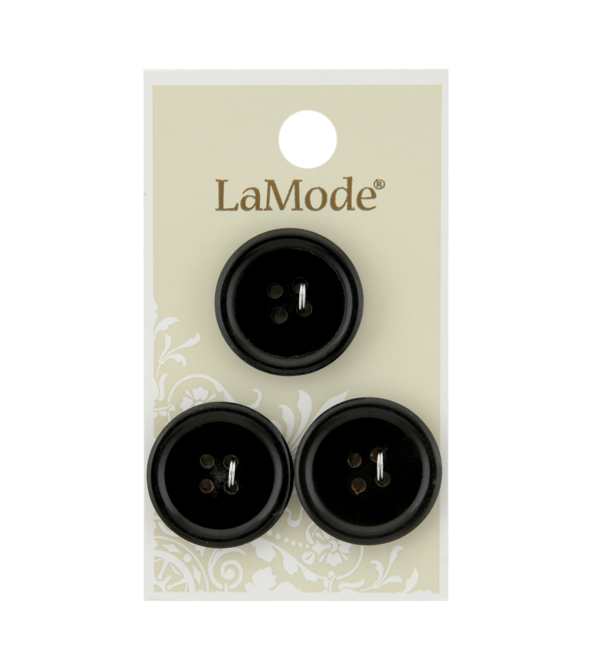La Mode 3 pk 22 mm Round Horn 4 Hole Buttons-Black