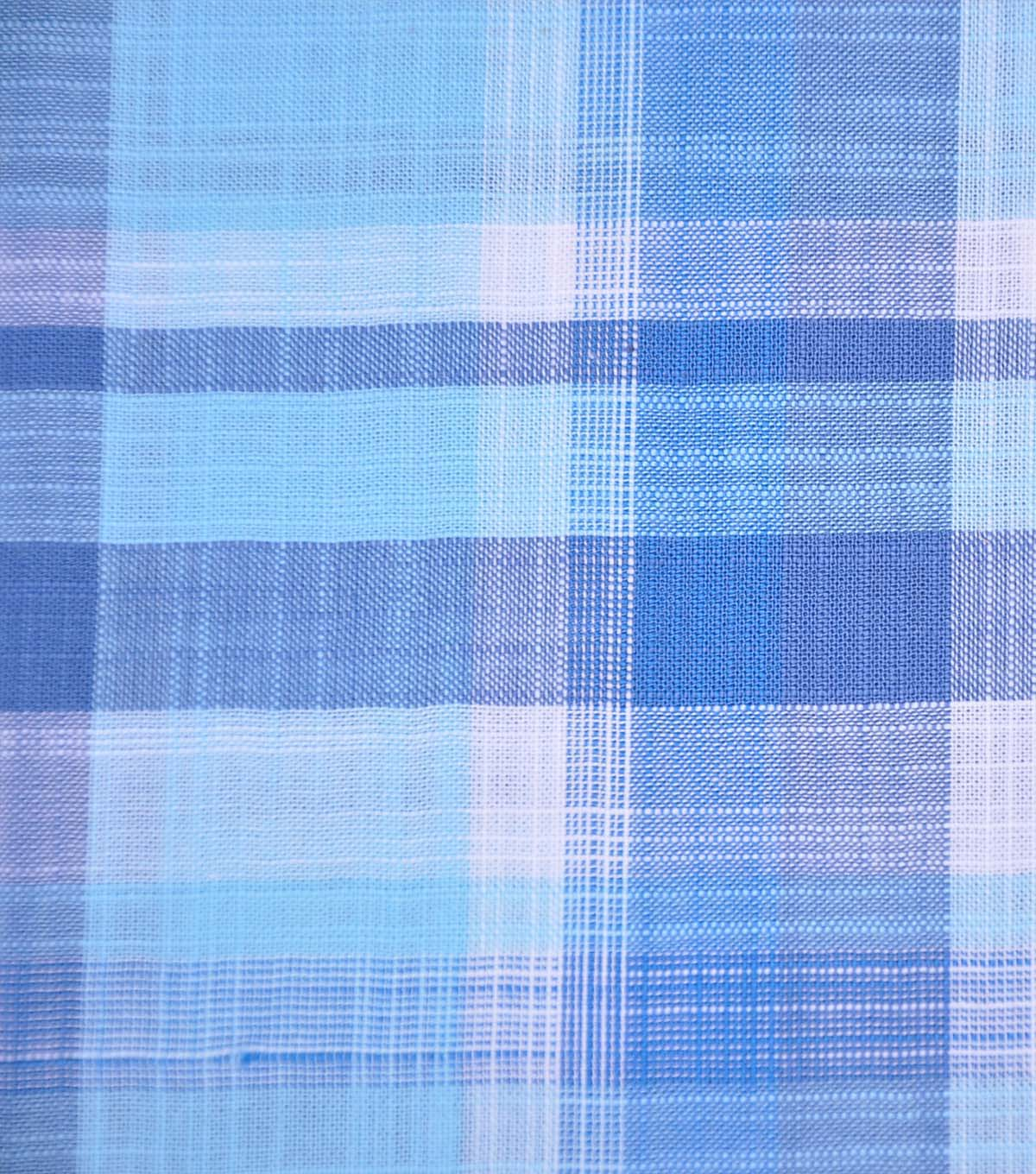 Cotton Shirting Fabric 42\u0027\u0027-Blue & Aqua Plaid
