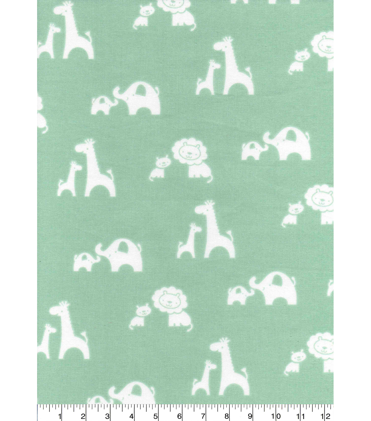Nursery Cotton Fabric 43\u0027\u0027-2 By 2 Sweet Animals on Green