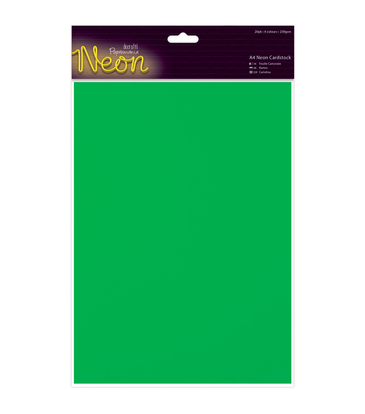 Papermania 20ct A4 Neon Cardstock