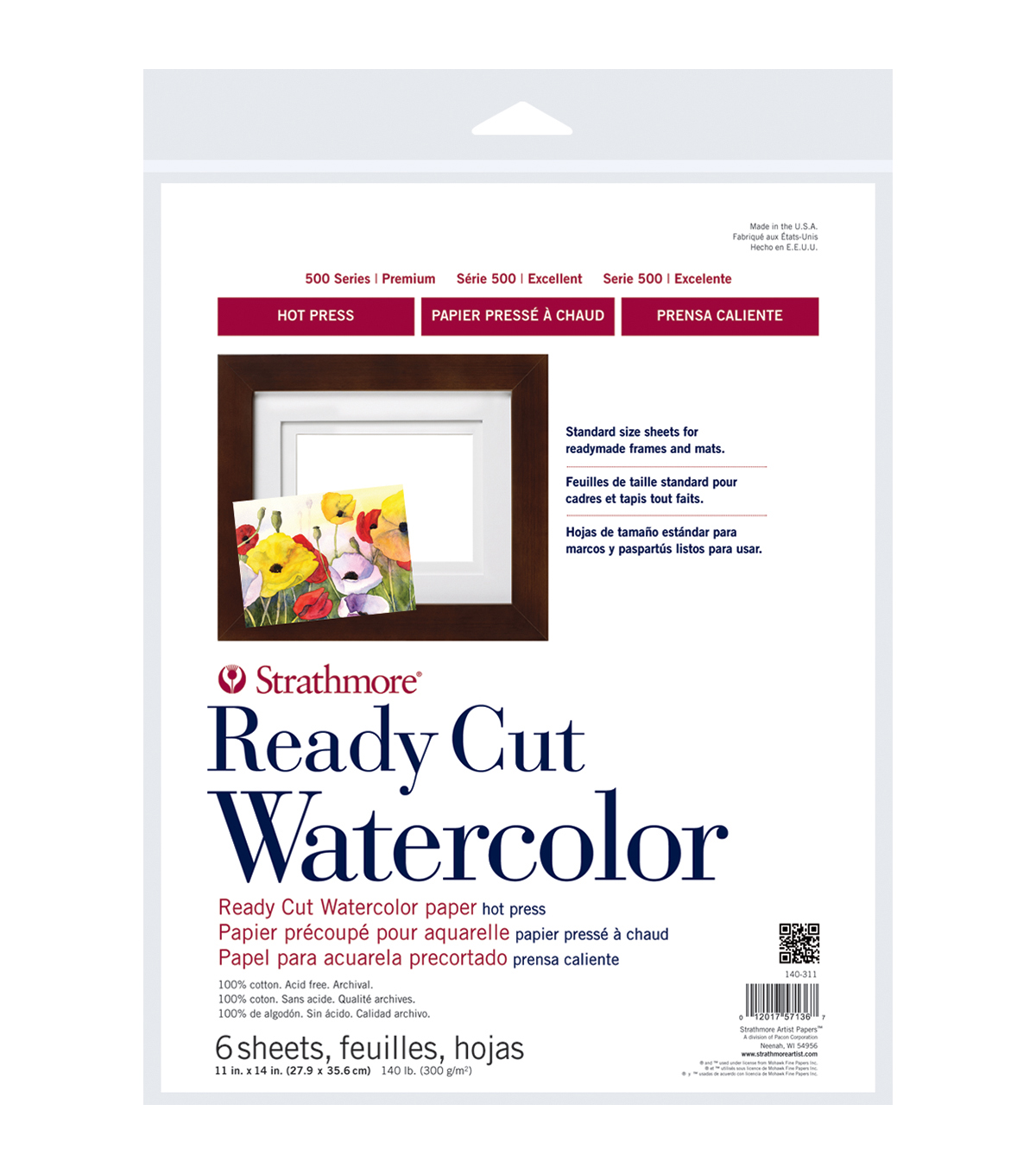 Strathmore Watercolor Paper 11\u0022X14\u0022-140lb 6 Sheets Hot Pressed