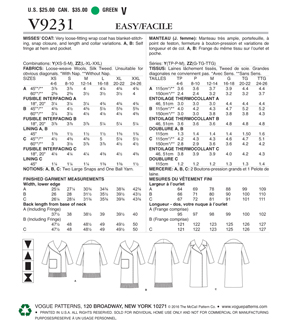 Vogue Pattern V9231 Misses\u0027 Shawl or Notch Collar Coats-Size 4-14