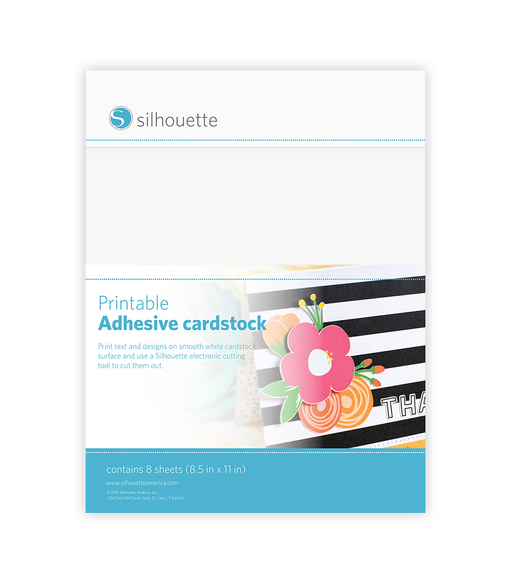 Silhouette of America 8 Pack Printable Adhesive Cardstock-White