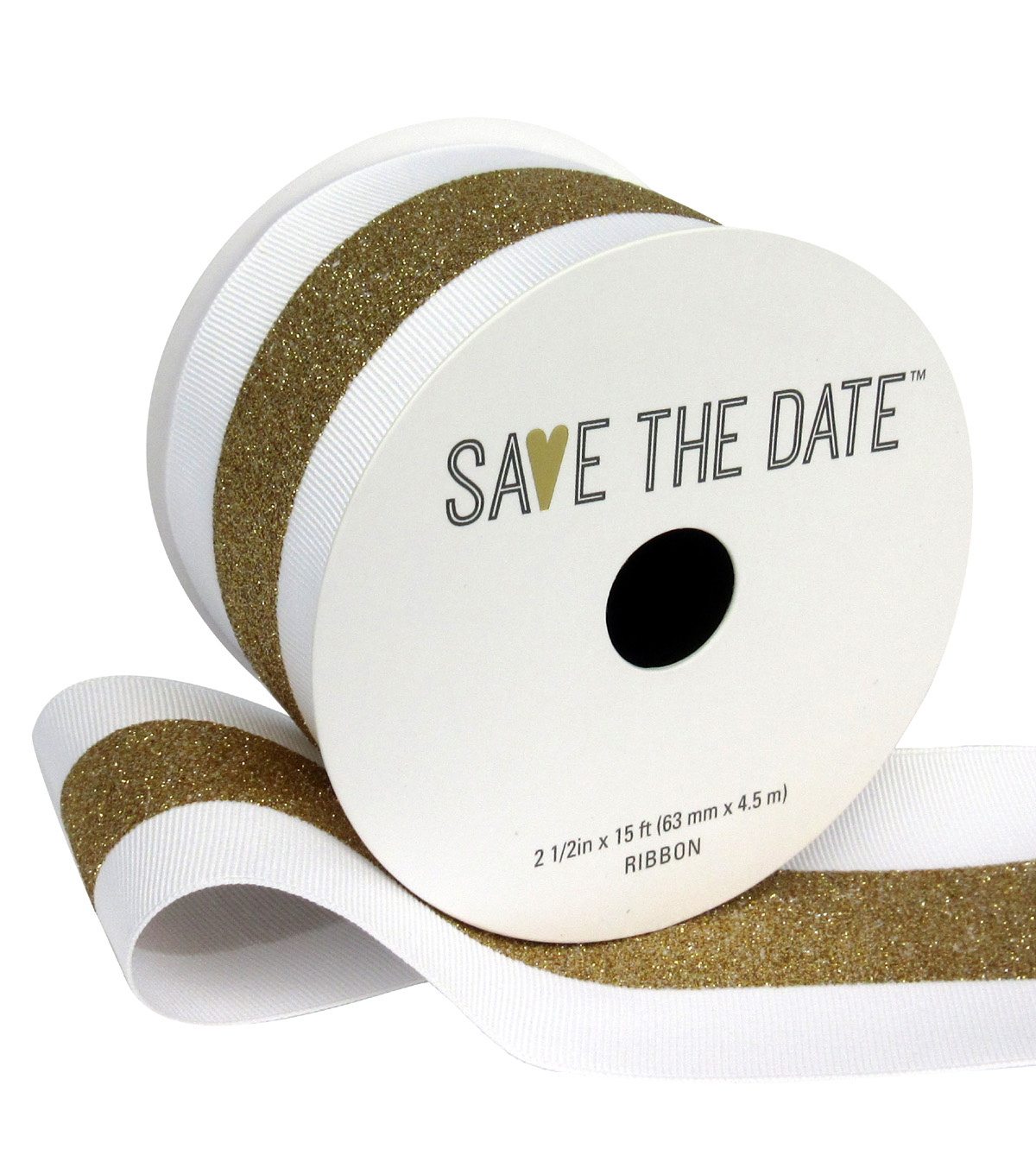 Save the Date 2.5\u0022 x 15ft Ribbon-White With Gold Center