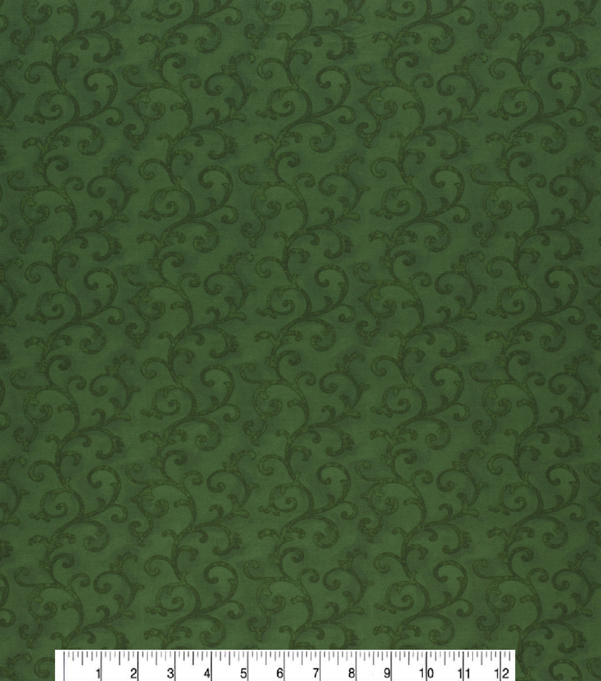 Christmas Cotton Fabric-Large Vines Swirl Green