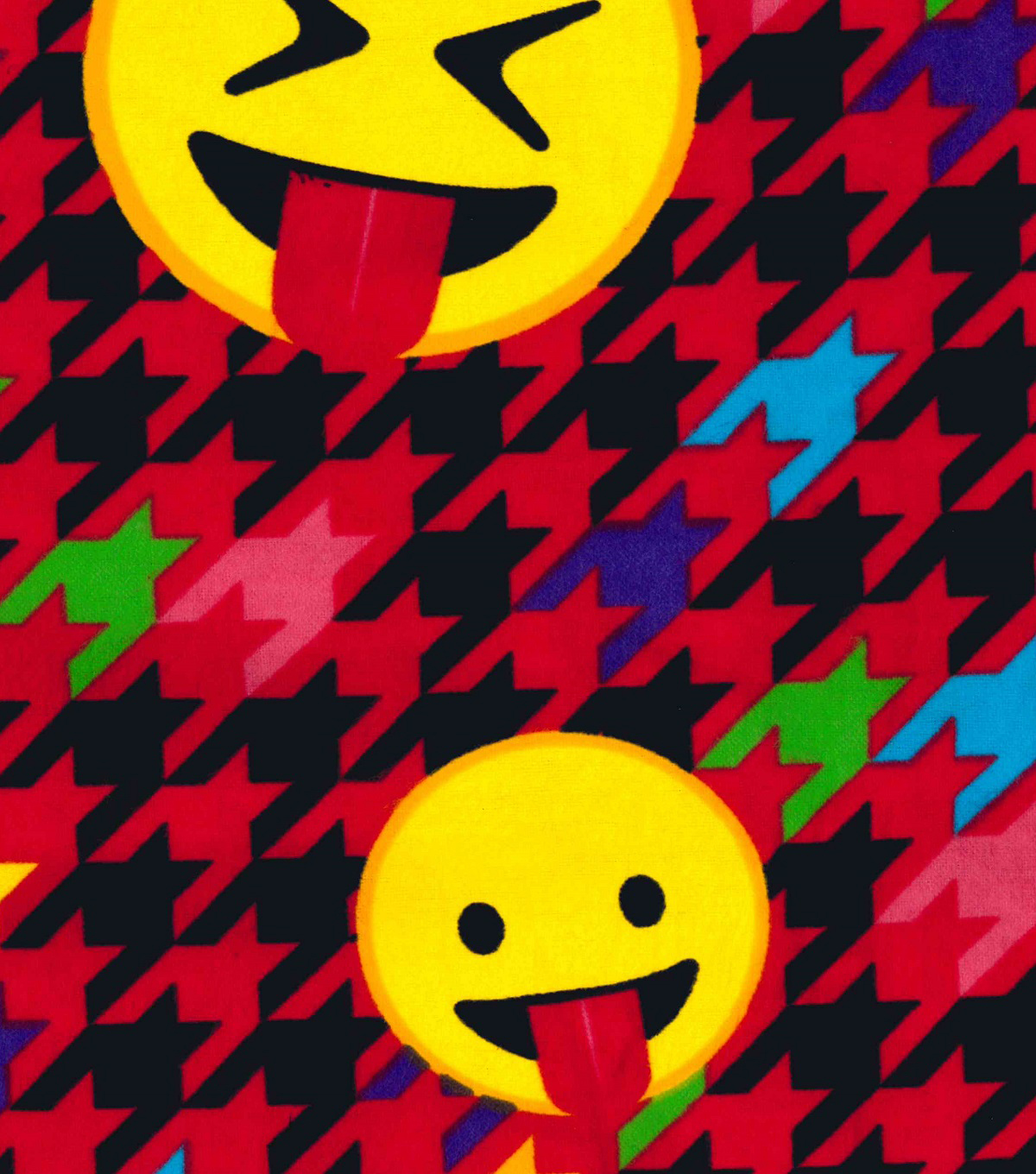 Snuggle Flannel Fabric -Emoticon Houndstooth