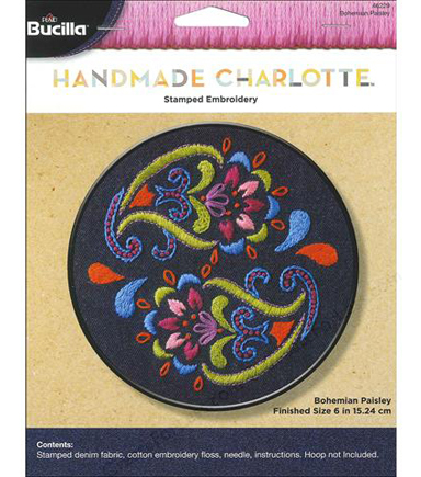 Bohemian Paisley Stamped Embroidery Kit 6 Round Joann