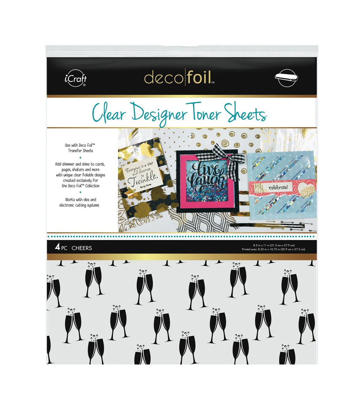 Deco Foil Clear Toner Sheets 8.5\u0022X11\u0022 4/Pkg-Cheers