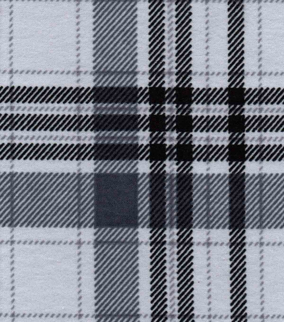 Snuggle Flannel Fabric -Gray Plaid