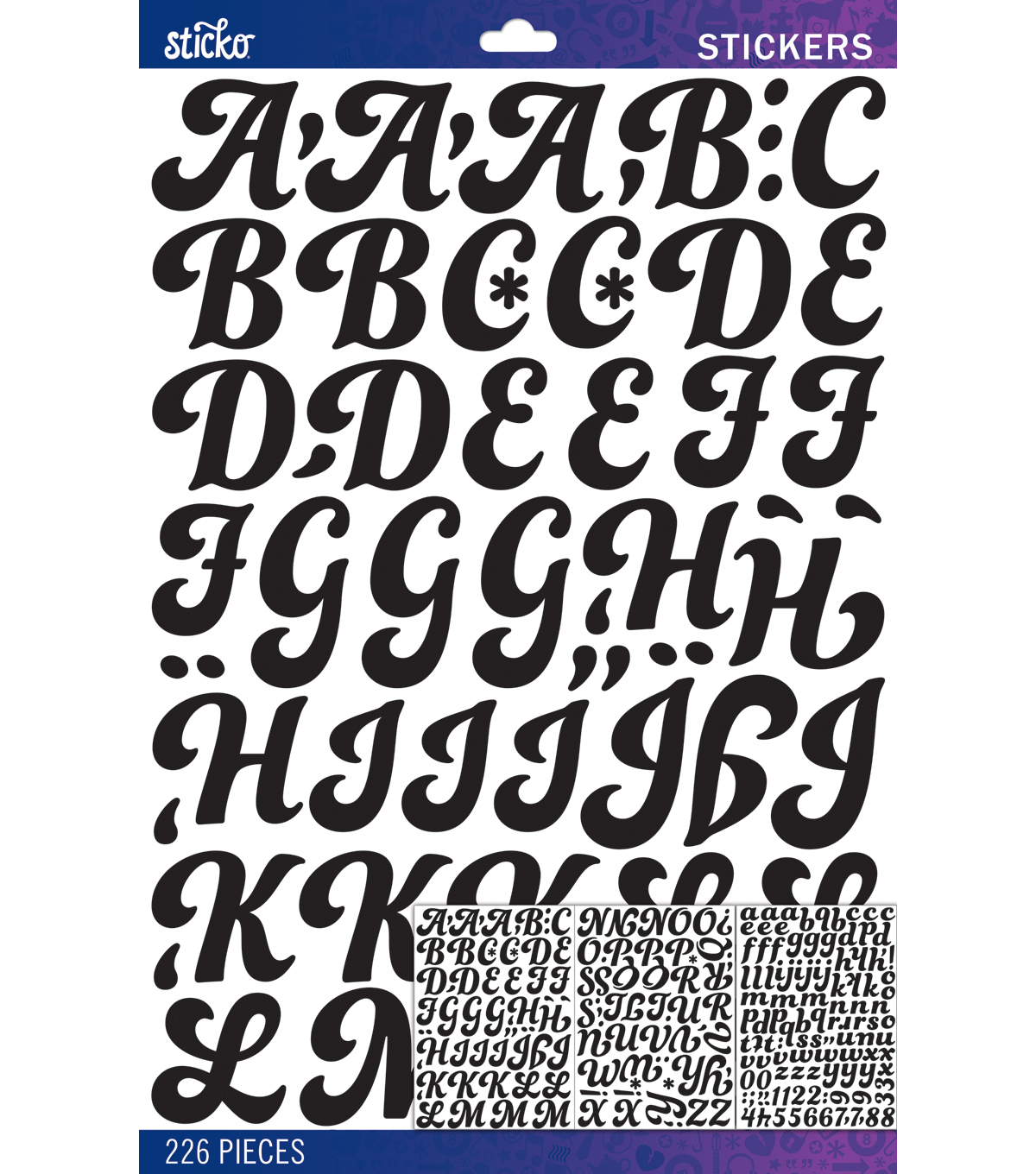 Sticko - Black Funkydori Large Alphabet Stickers