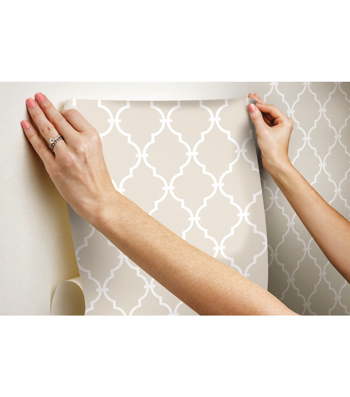 York Wallcoverings Wallpaper-Beige Modern Trellis