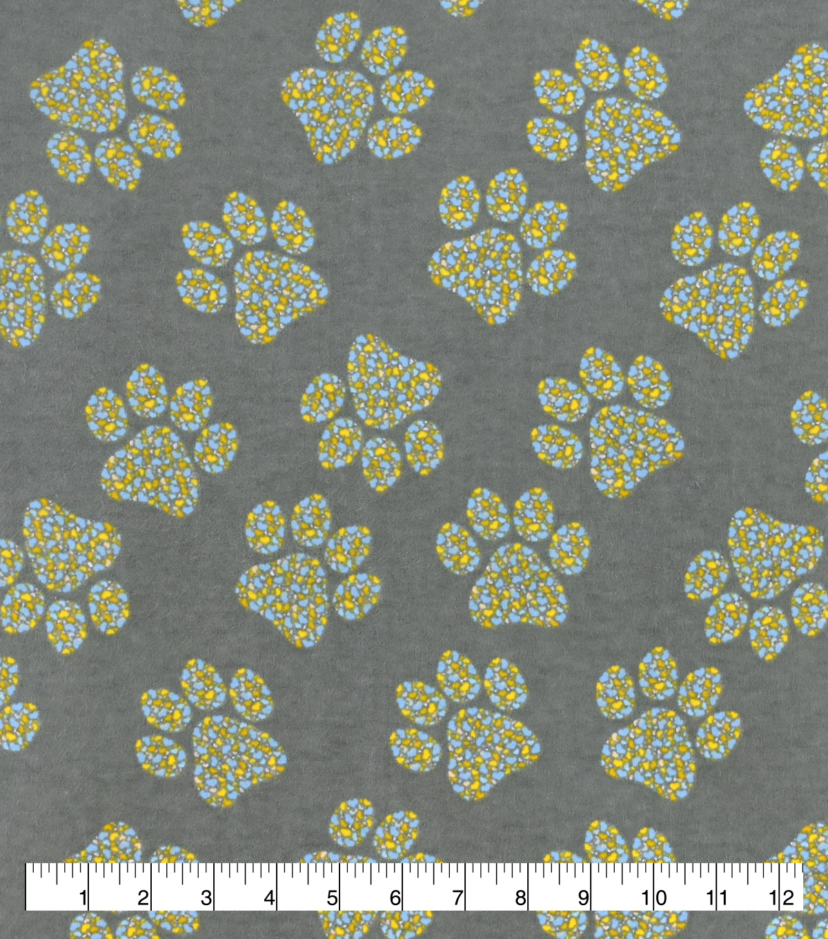 Snuggle Flannel Fabric-Blue Yellow Paw Cluster