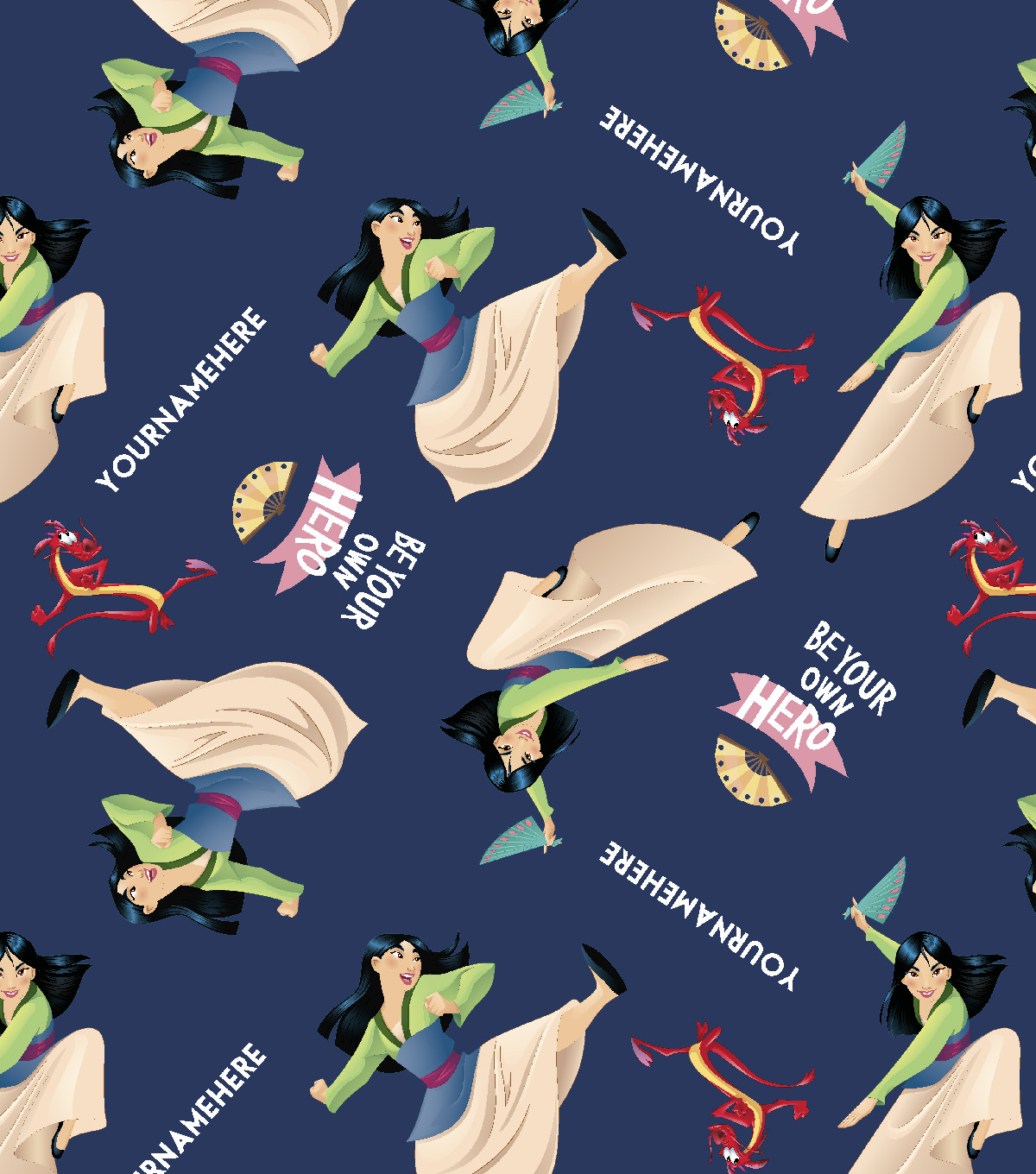Disney Mulan Print Fabric by Springs Creative-Be Your Own Hero