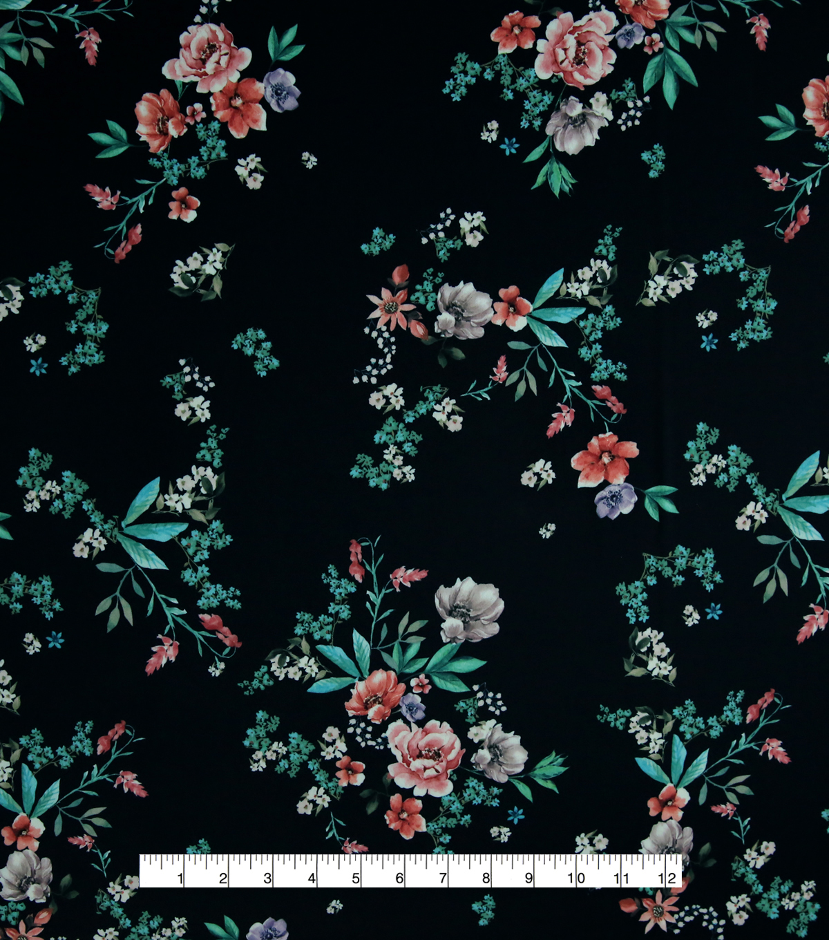 Silky Stretch Crepe Fabric 57\u0022-Navy Scattered Blooms