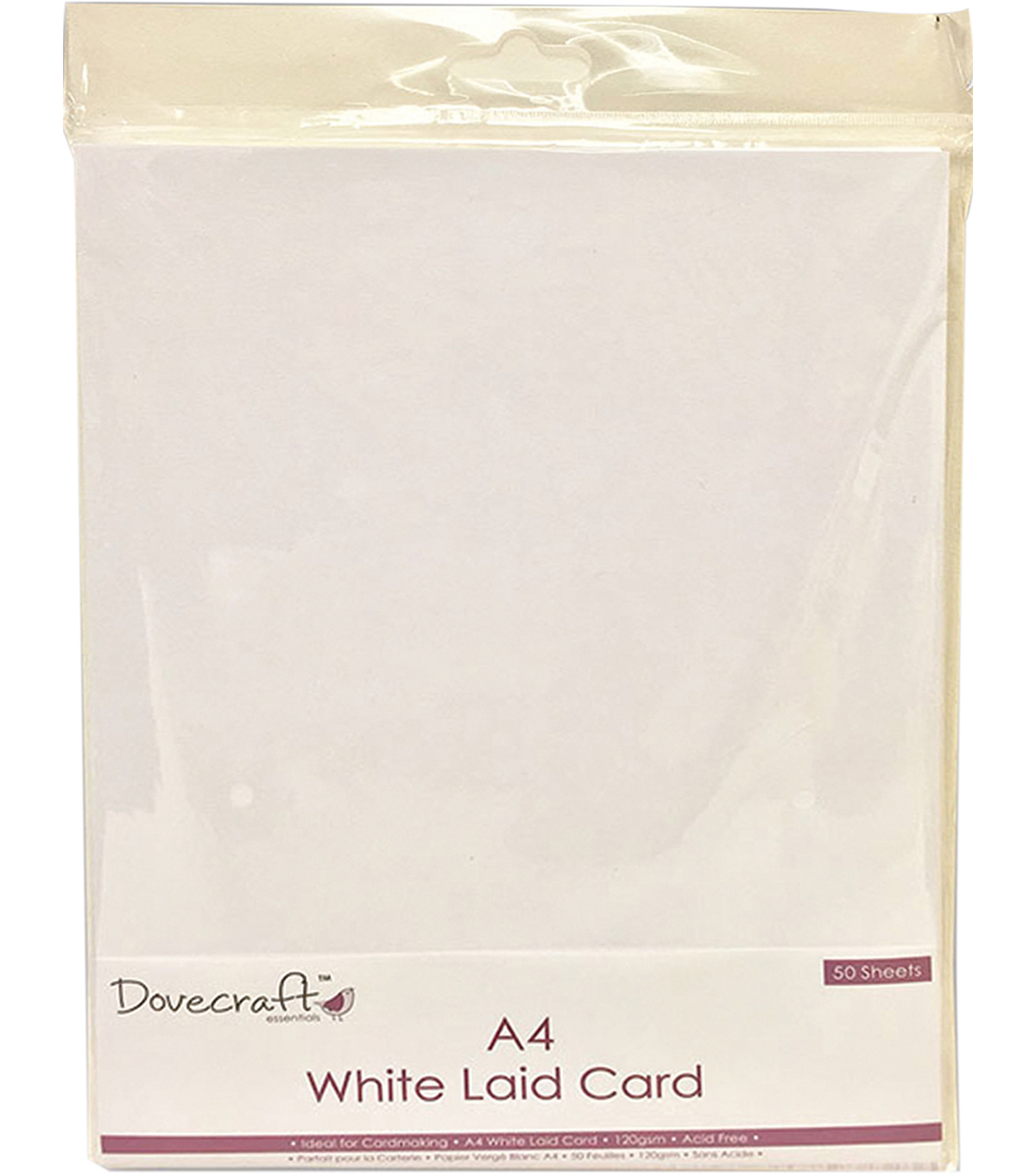 Dovecraft 50 pk A4 Laid Cards-White