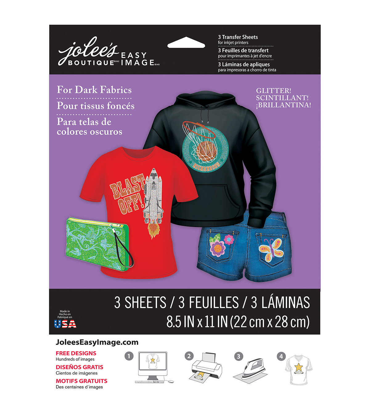 Jolee\u0027s Easy Image Transfer Sheets 8.5\u0022X11\u0022 Glitter For Dark Fabrics